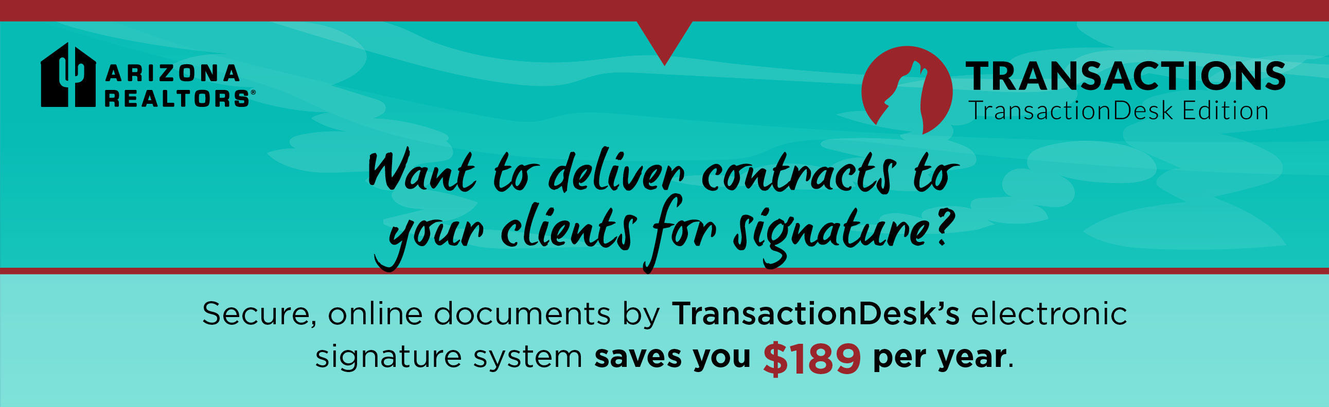 Secure, online documents by TransactionDesk's electronic signature system saves you $189 per year.