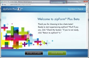 zipForm Plus Welcome Screen