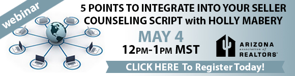 Webinar: 5 Points to Integrate Into Your Seller Counseling Script from 12 to 1 p.m. on Wednesday, May 4. To register, click www.aaronline.com/calendar/view-event/?id=799